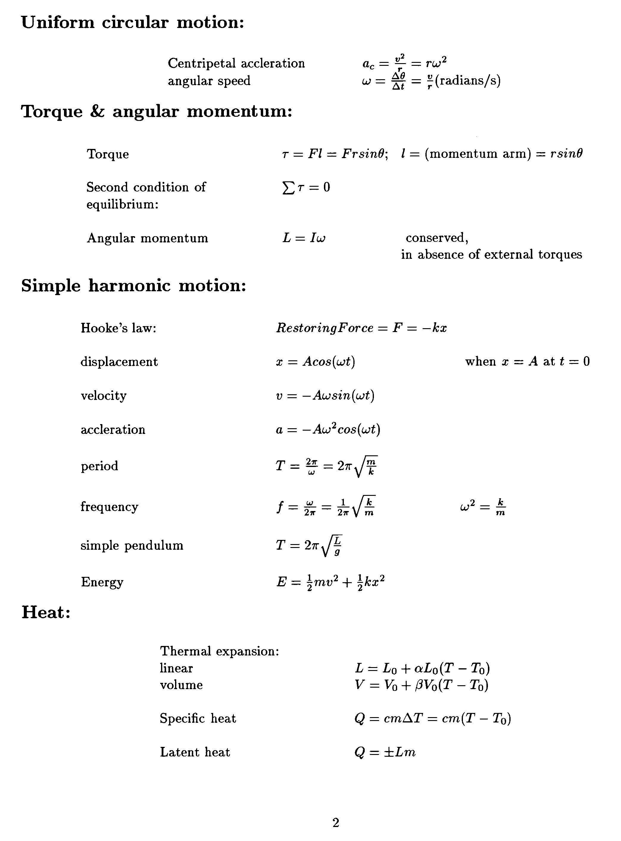 Formula Sheet  2